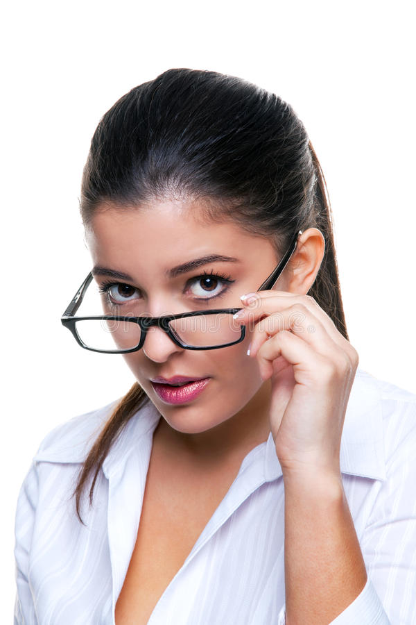 Free Businesswoman Peering Over Her Glasses Royalty Free Stock Images - 11529149