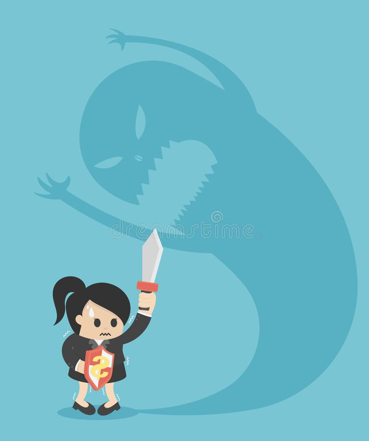 Businesswoman person afraid of a big monster shadow. Eps 10 stock illustration