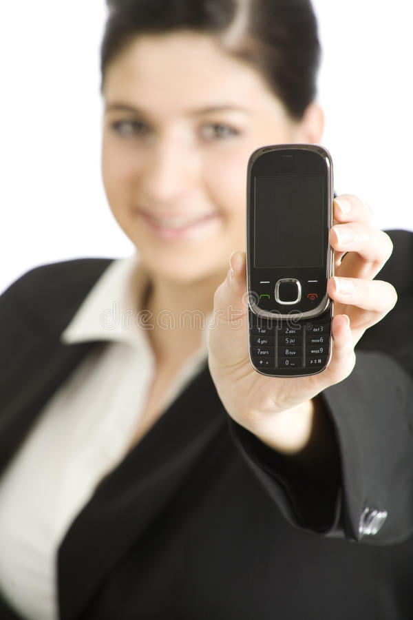 Businesswoman with a phone royalty free stock photo