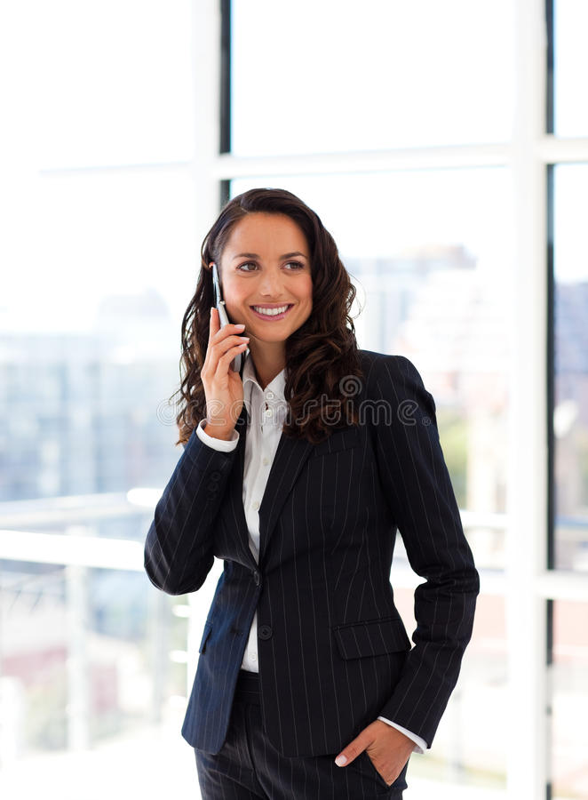 Businesswoman on the phone. Attractive young businesswoman on the phone stock images