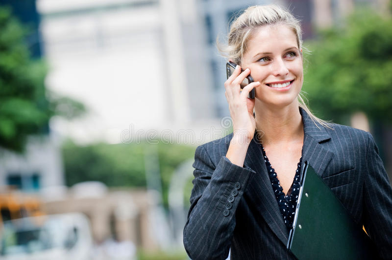 Download Businesswoman With Phone And File Stock Image - Image of looking, folder: 11352729
