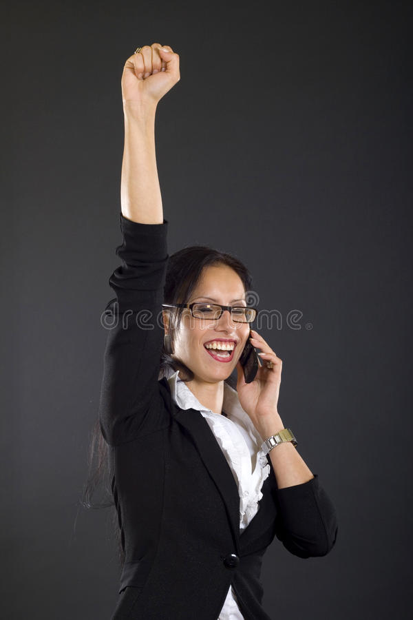 Download Businesswoman On The Phone Winning Stock Image - Image: 10729079