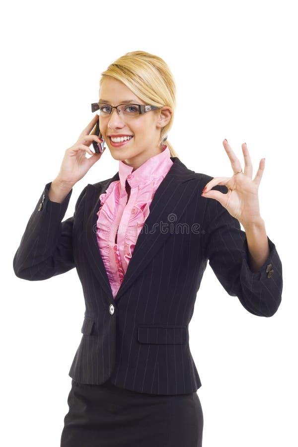 Businesswoman on the phone winning stock photos