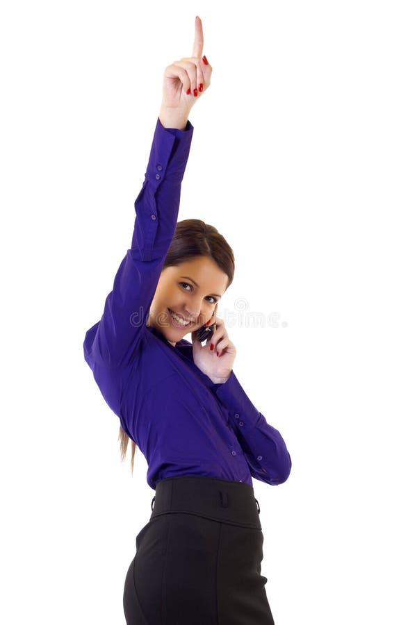 Businesswoman on the phone winning stock photo