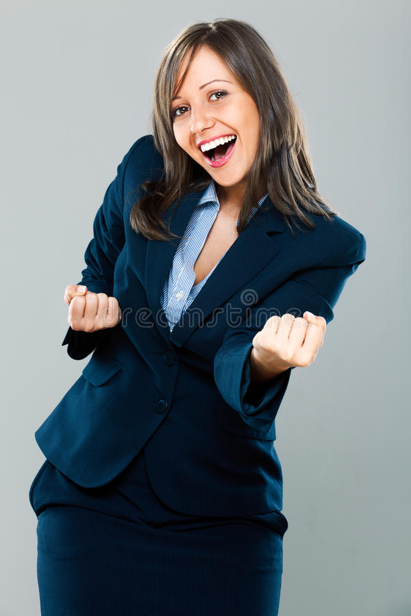 businesswoman podekscytowany fotografia stock