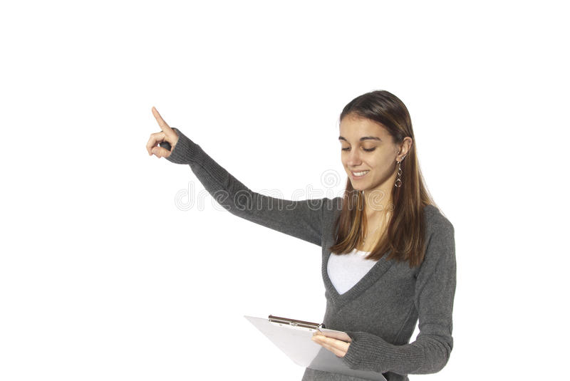 Download Businesswoman Point Upward Success Copy Space Stock Image - Image: 23672193