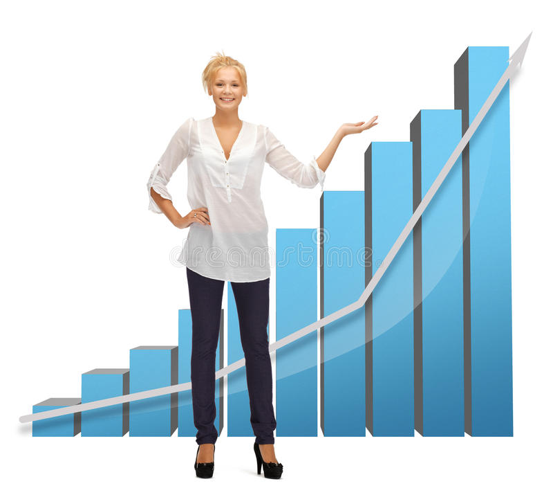 Businesswoman pointing at big 3d chart. Beautiful businesswoman pointing at big 3d chart royalty free stock photos