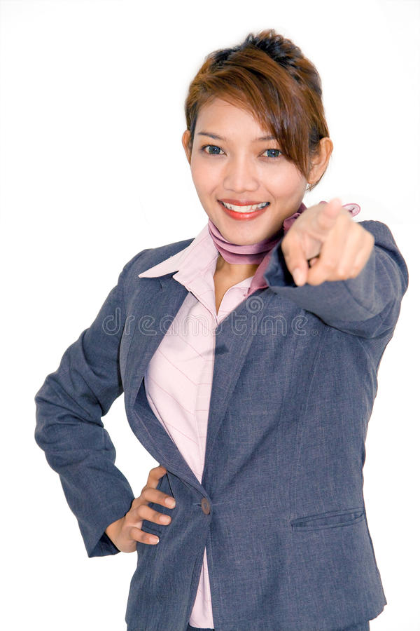Download Businesswoman Pointing Forward Stock Photo - Image: 21968064