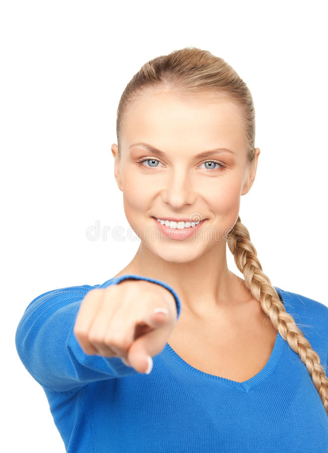 Businesswoman pointing her finger. Picture of attractive businesswoman pointing her finger royalty free stock photo