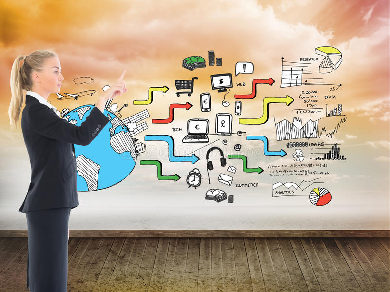 Businesswoman pointing somewhere. Composite image of blonde businesswoman pointing somewhere stock images
