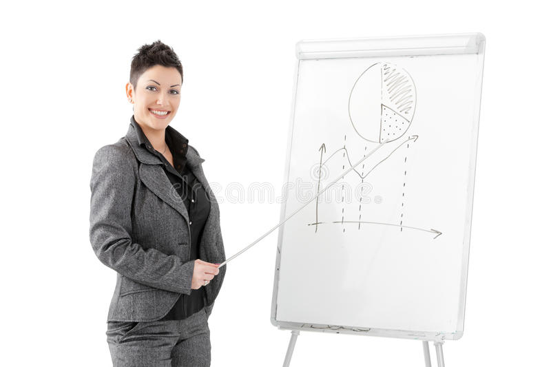 Download Businesswoman Pointing At Whiteboard Stock Image - Image: 10982185