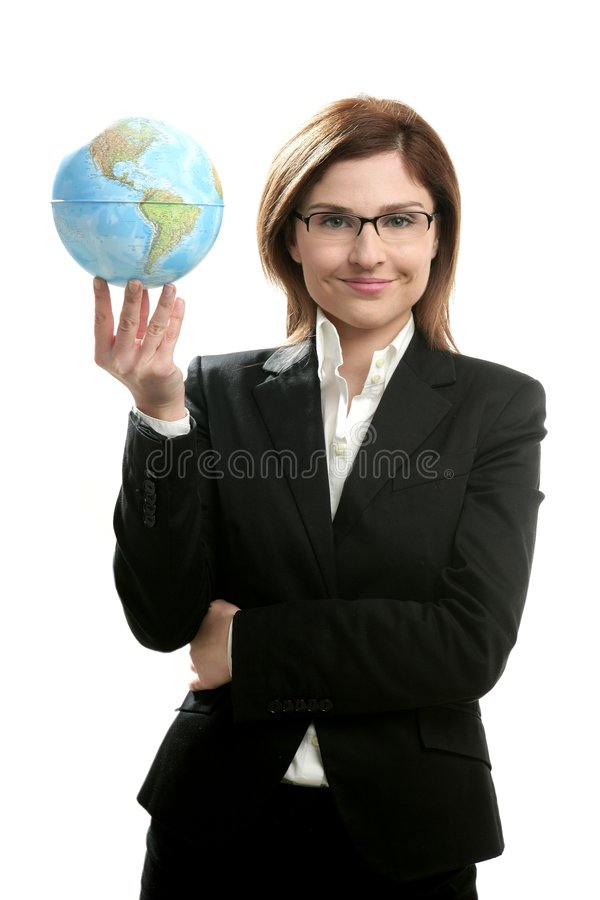 Businesswoman portrait with global map royalty free stock photos