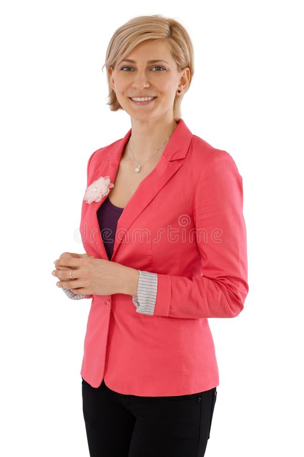 Businesswoman portrait. Portrait of happy businesswoman smiling, looking at camera royalty free stock photo