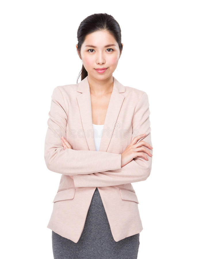 Businesswoman portrait. Isolated on white royalty free stock images