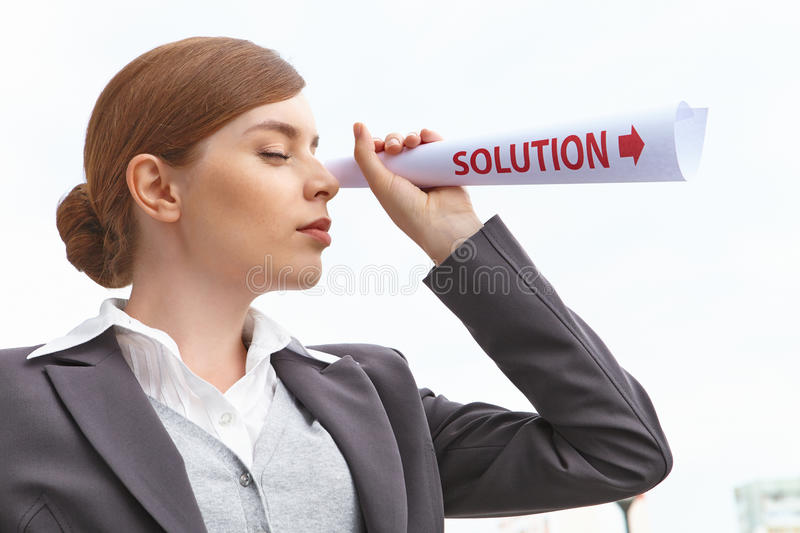 Businesswoman. Portrait of businesswoman. Solution concept royalty free stock images