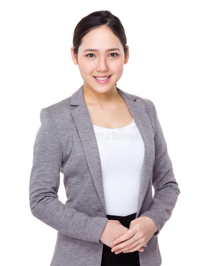 Businesswoman portrait. On white background royalty free stock image