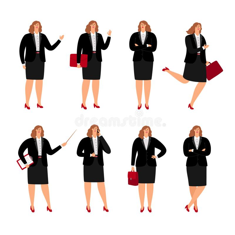 Businesswoman poses collection stock illustration