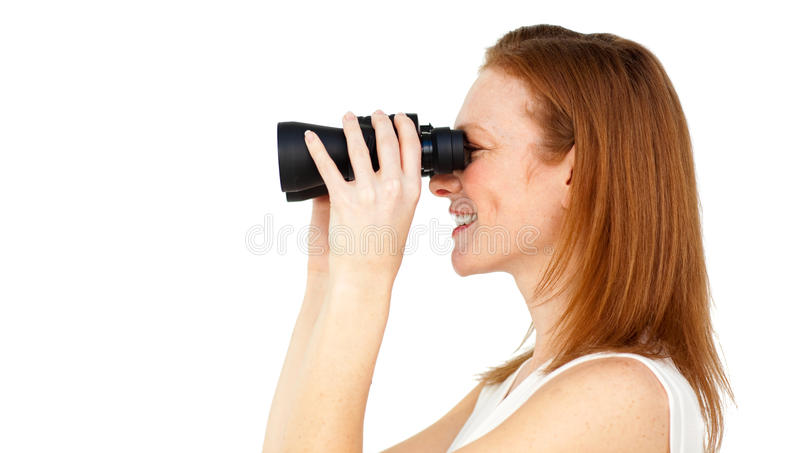 Businesswoman predicting future success stock image