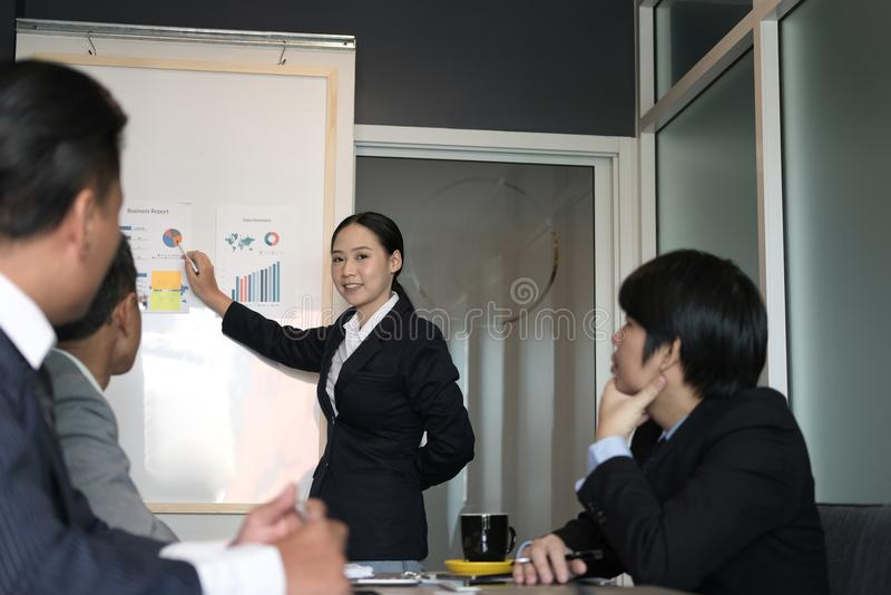 Businesswoman present financial plan report to co worker team. w royalty free stock photo