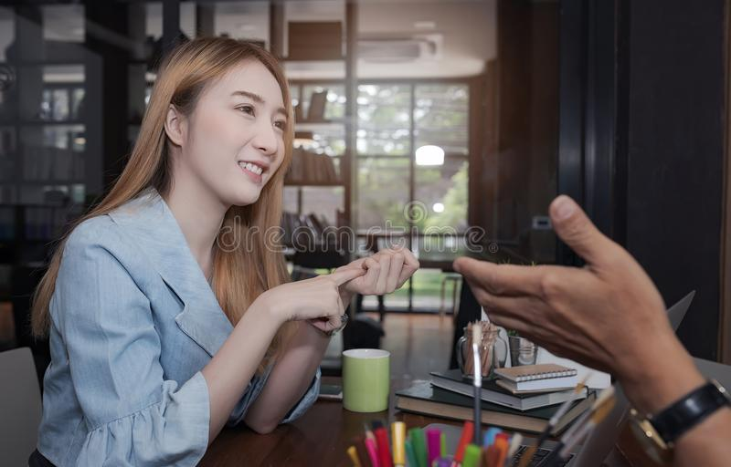 Businesswoman present project with customer royalty free stock image