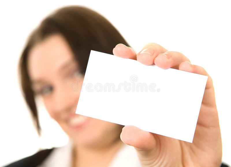 Download Businesswoman Presenting Her Business Card Stock Photo - Image: 7325322