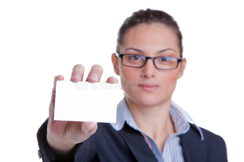 Businesswoman presenting her card