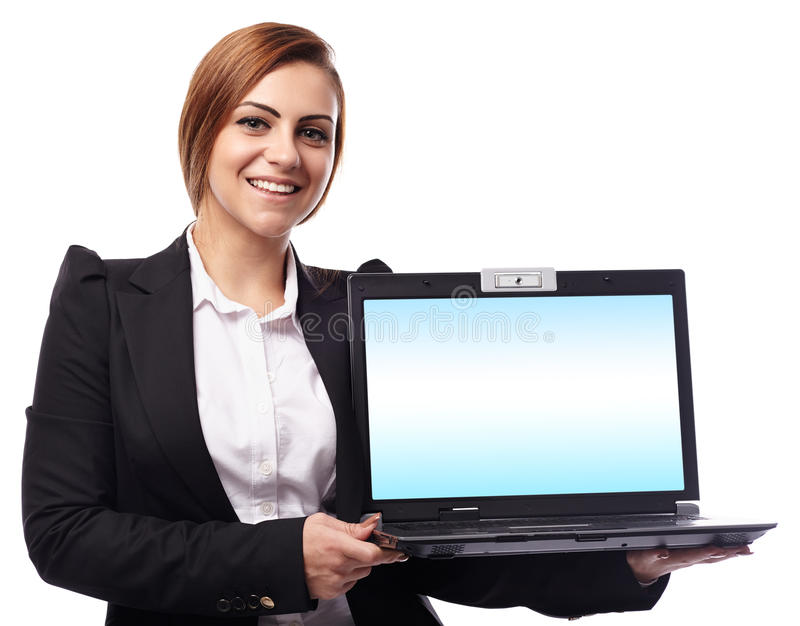 Download Businesswoman Presenting A Laptop With Copyspace On The Monitor Stock Image - Image: 41071753