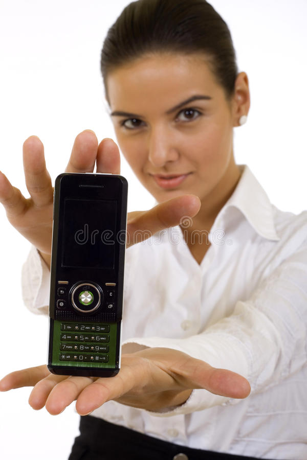 Businesswoman presenting a mobile phone royalty free stock images