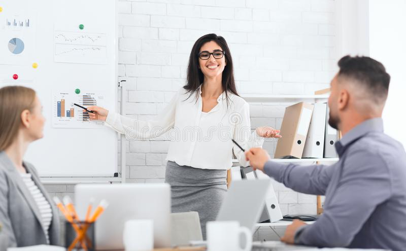 Businesswoman presenting new business plan to colleagues stock photography
