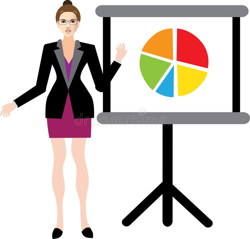 Businesswoman Presenting With Pojector To Explain her new Project. To the audience stock illustration