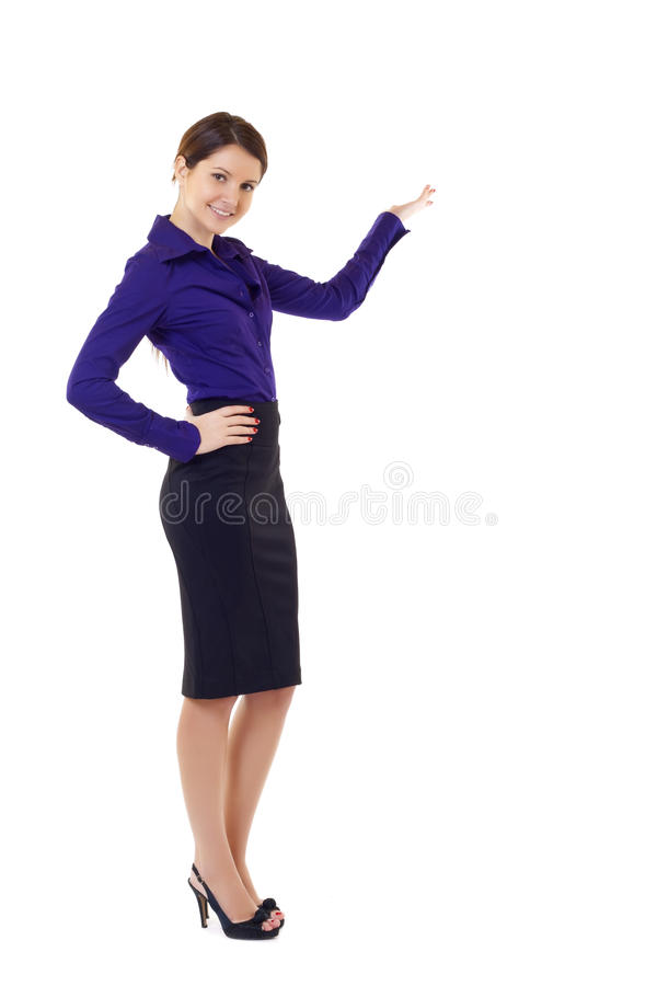 Businesswoman presenting something stock image
