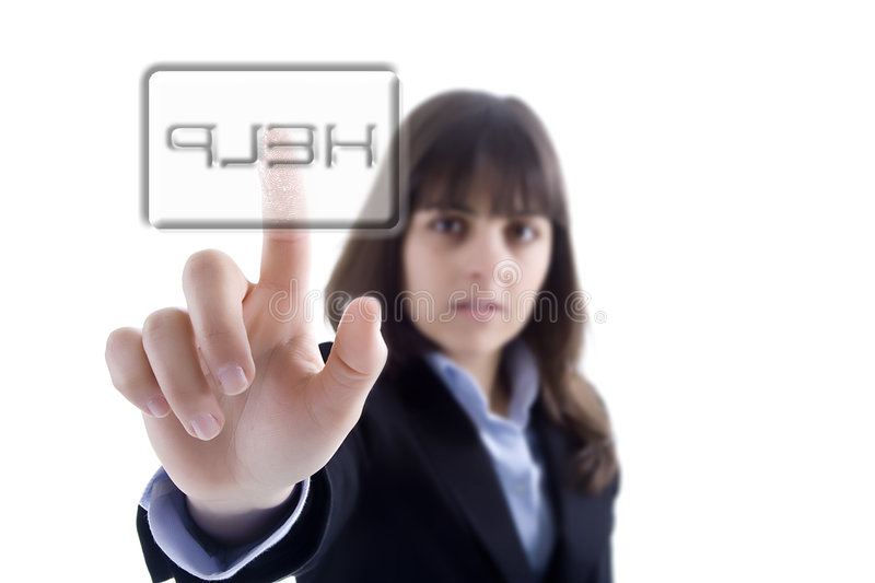 Download Businesswoman Pressing The Help Button Royalty Free Stock Photo - Image: 5023785
