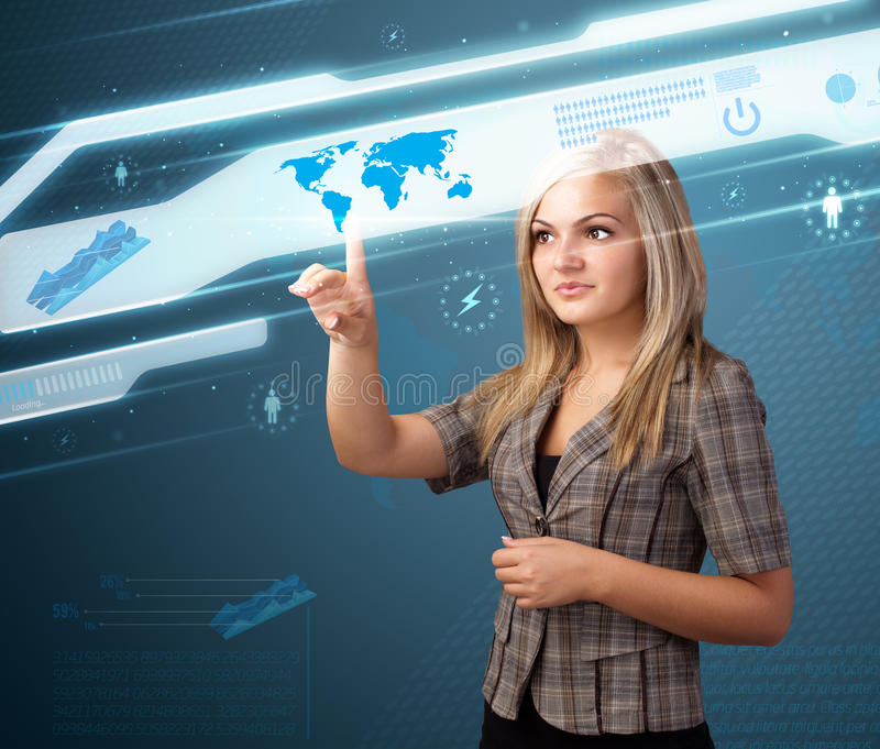 Download Businesswoman Pressing High Tech Modern Buttons Stock Photo - Image: 21421182