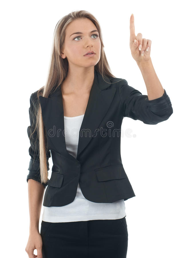 Download Businesswoman Pressing The Touchscreen Button Stock Photo - Image: 19270880