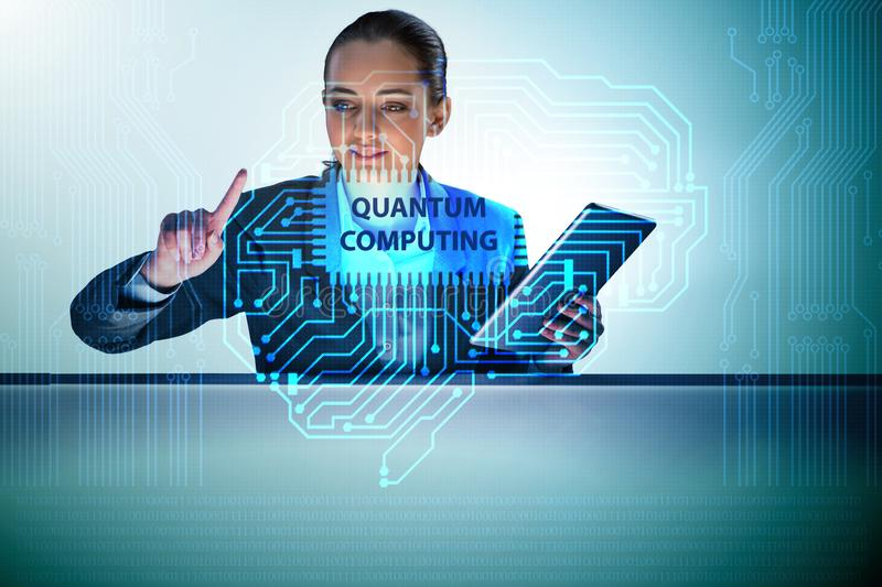The businesswoman pressing virtual button in quantum computing concept. Businesswoman pressing virtual button in quantum computing concept stock image