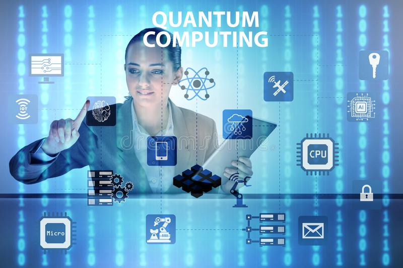 The businesswoman pressing virtual button in quantum computing concept. Businesswoman pressing virtual button in quantum computing concept royalty free stock images