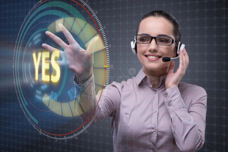 The businesswoman pressing virtual button yes stock photos