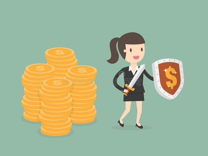 Businesswoman Protecting Money With Shield And Sword stock illustration