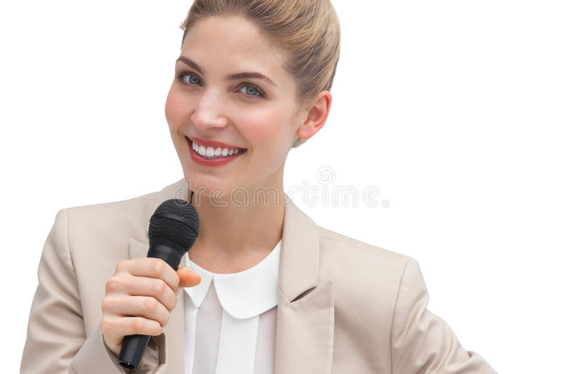 Businesswoman public speaking stock photo