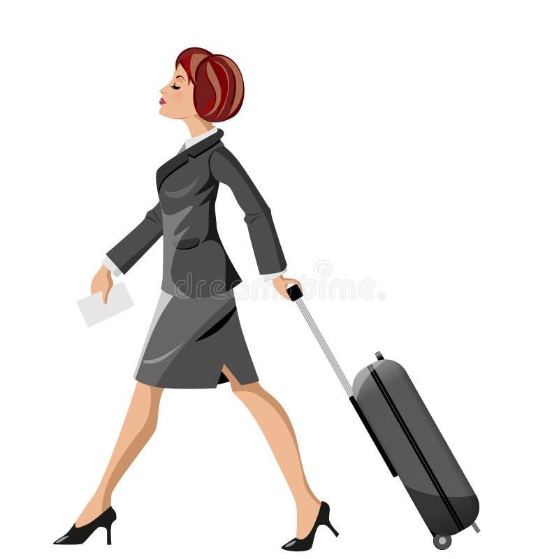 Businesswoman Pulling Trolley stock illustration