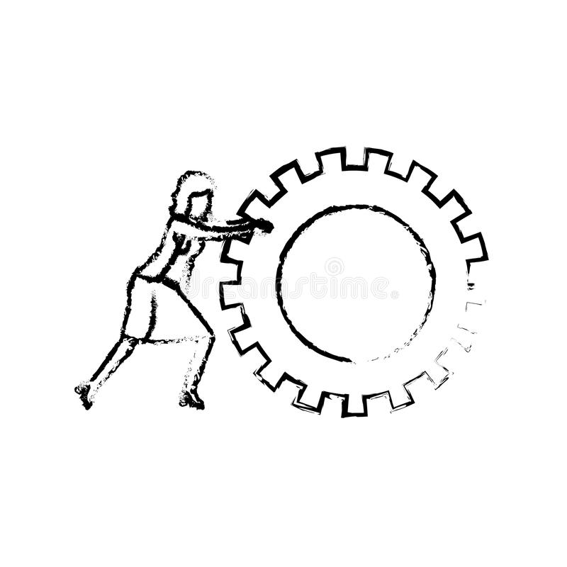 Businesswoman pushing a big gears cogwheel silhouette blurred monochrome. Vector illustration vector illustration