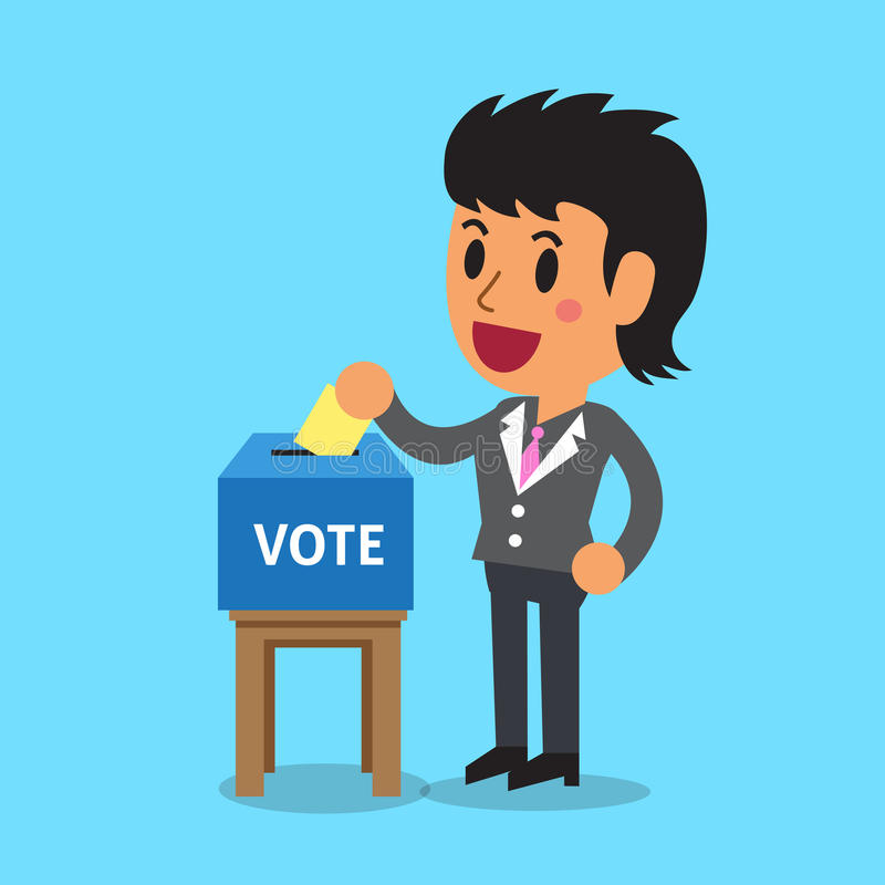 Businesswoman putting voting paper in the ballot box royalty free illustration