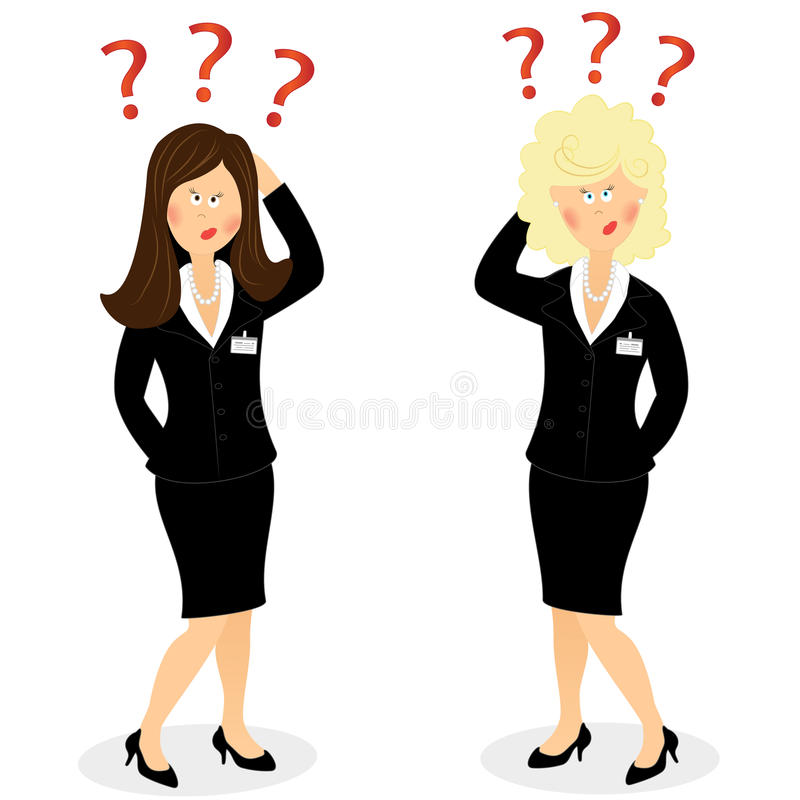 Businesswoman with question marks stock illustration