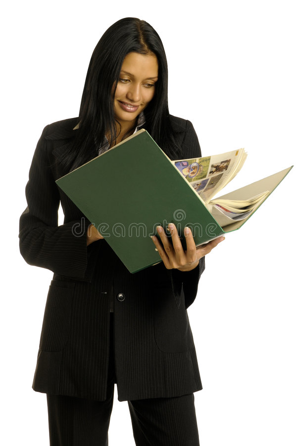 Businesswoman Is Reading The Big Book Stock Photos