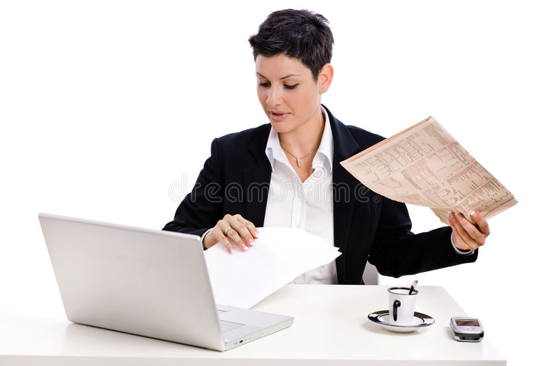 Download Businesswoman Reading Newspaper Stock Photo - Image: 7940250