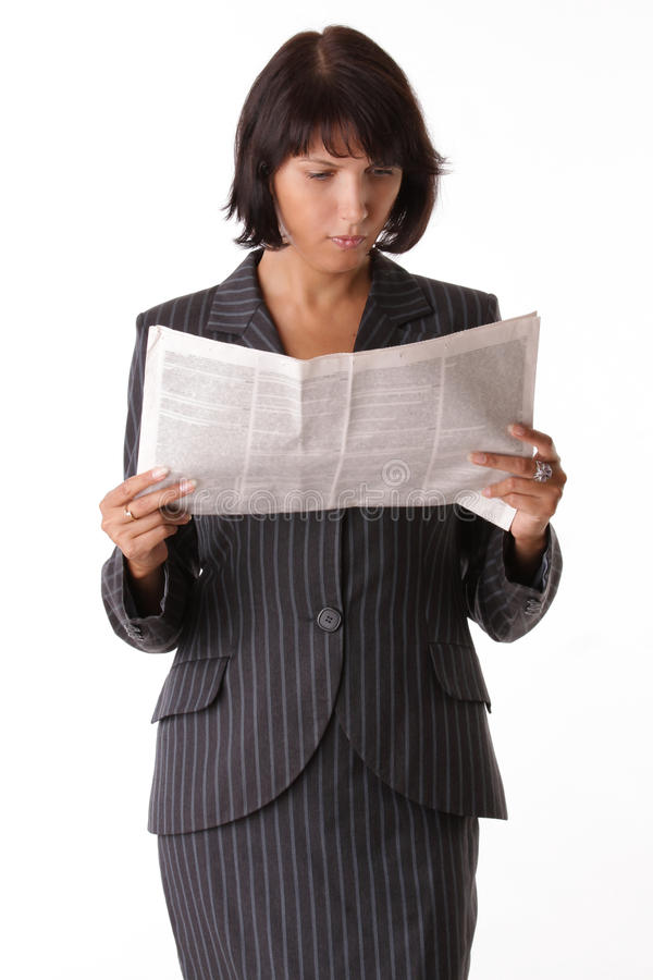 Free Businesswoman Reading The Paper Royalty Free Stock Photos - 18259428