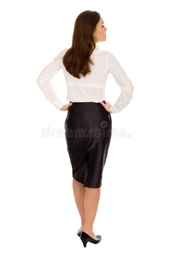 Businesswoman, rear view. Portrait of young businesswoman, rear view royalty free stock photos