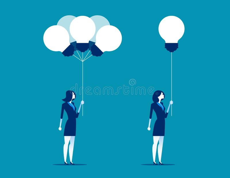 Businesswoman receiving ideas from bunch. Concept business vector illustration. stock illustration