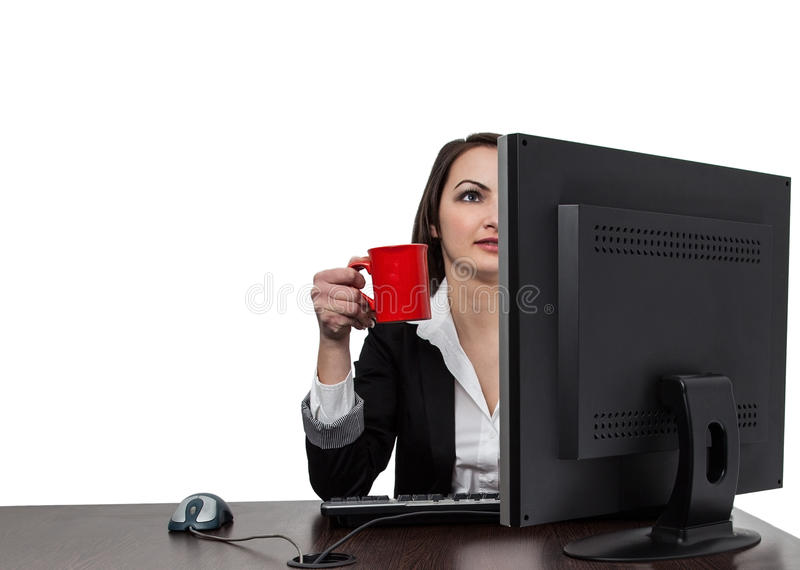 Download Businesswoman With A Red Cup Of Coffee Stock Photo - Image: 26430772