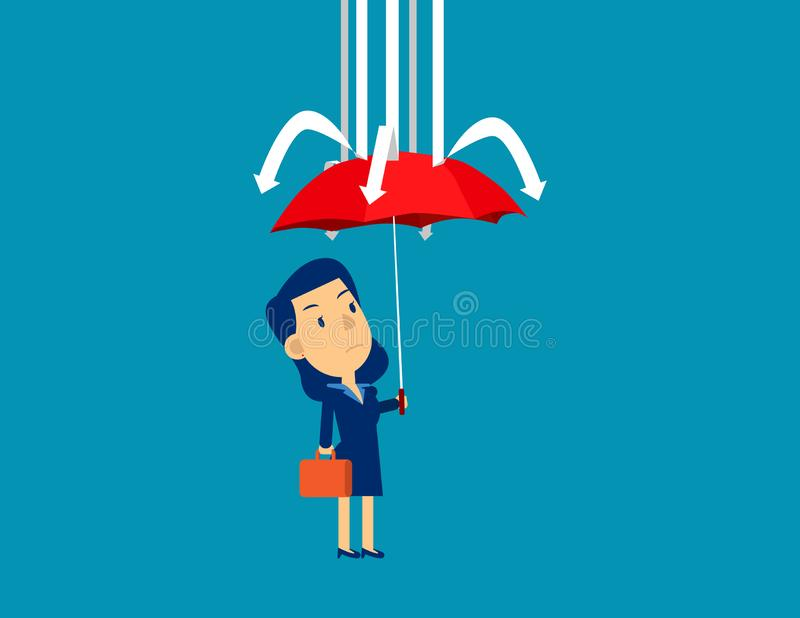 Businesswoman and red umbrella protection. Concept cute business vector illustration, Shielding, Investor royalty free stock photography